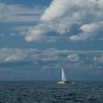 Alone Sail boat. Shoot from Halibut point, Rockport, MA